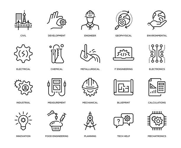 engineering-icon-set - ingenieur stock-grafiken, -clipart, -cartoons und -symbole