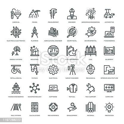 36 Engineering Icons - Line Series
