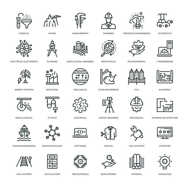 zestaw ikon inżynierskich - geologia stock illustrations