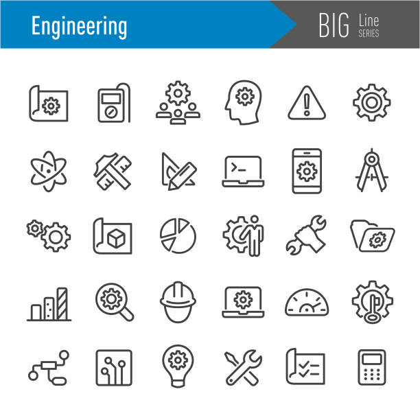 engineering icons-big line series - ingenieur stock-grafiken, -clipart, -cartoons und -symbole