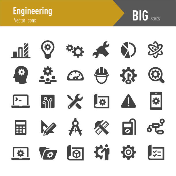 Engineering Icons - Big Series Engineering, Engineer, Planning, Technology, work tool stock illustrations
