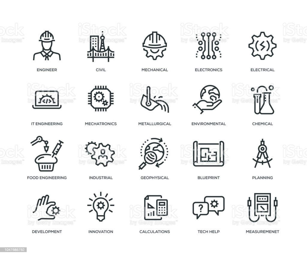 Ingénierie Icons - série en ligne - Illustration vectorielle