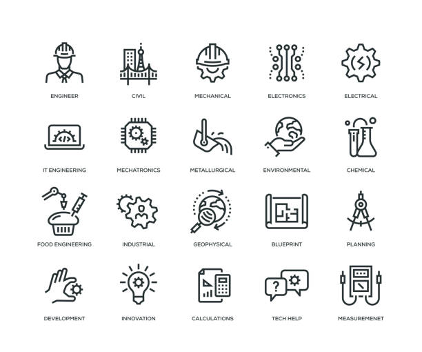 Engineering Icons - Line Series Engineering Icons - Line Series engineer stock illustrations