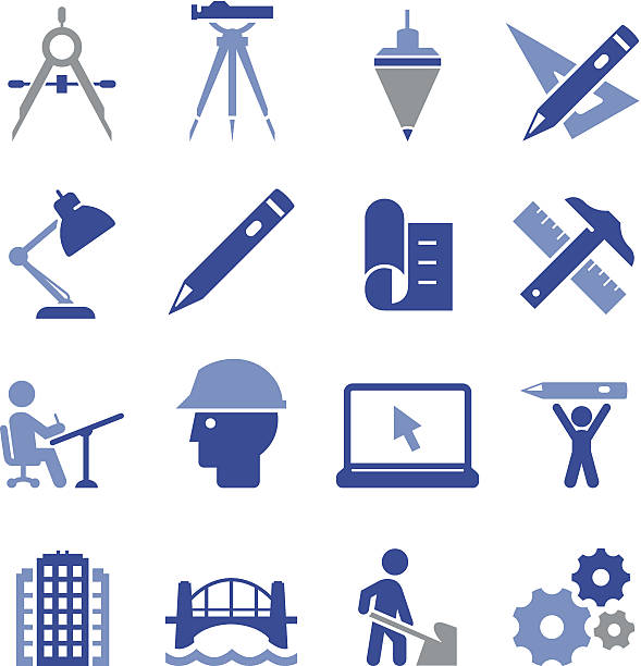 engineering icons - pro series - architect stock illustrations, clip art, cartoons, & icons