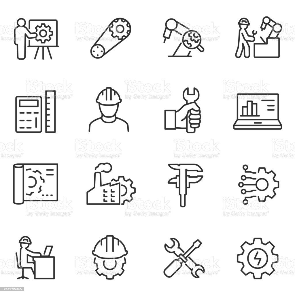 Engineering icons set. Engineer. Line with editable stroke royalty-free engineering icons set engineer line with editable stroke stock illustration - download image now