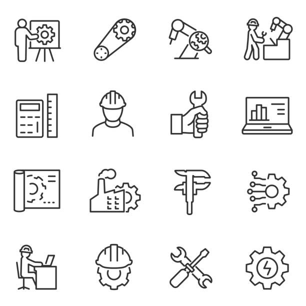 Engineering icons set. Engineer. Line with editable stroke Engineering icons set. Engineer, linear style. Field of technical activity for invent, innovate, design, build, maintain and research. Line with editable stroke manufacturing stock illustrations