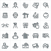 A set of engineering icons. The icons include engineers, surveyors, road, blue prints, compass, crane, construction equipment, road, hard hat, building, drawing board, computer, construction cone and a bridge to name a few.