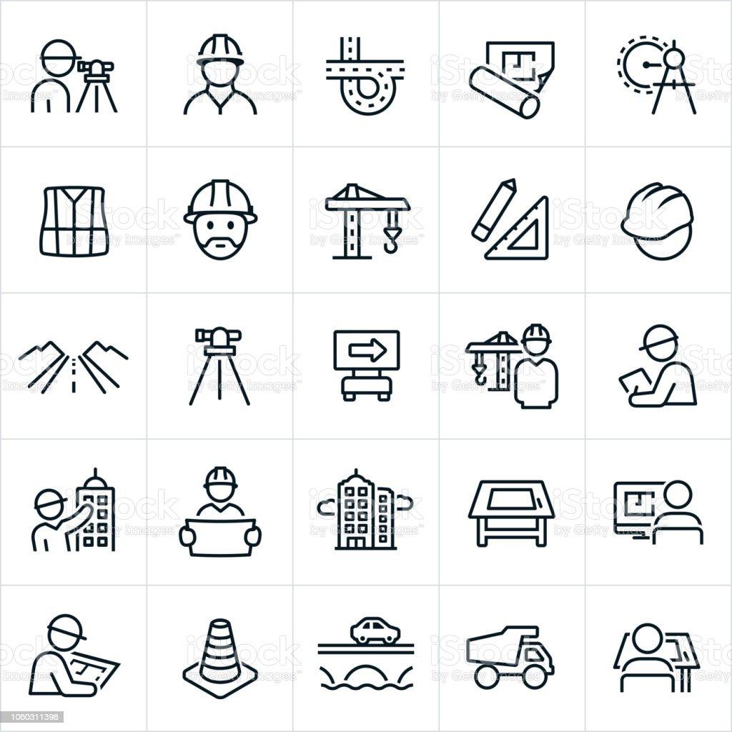 Iconos de la ingeniería - ilustración de arte vectorial