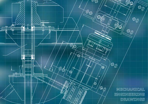 technische illustrationen. blaupausen. mechanische zeichnung - splash grafiken stock-grafiken, -clipart, -cartoons und -symbole