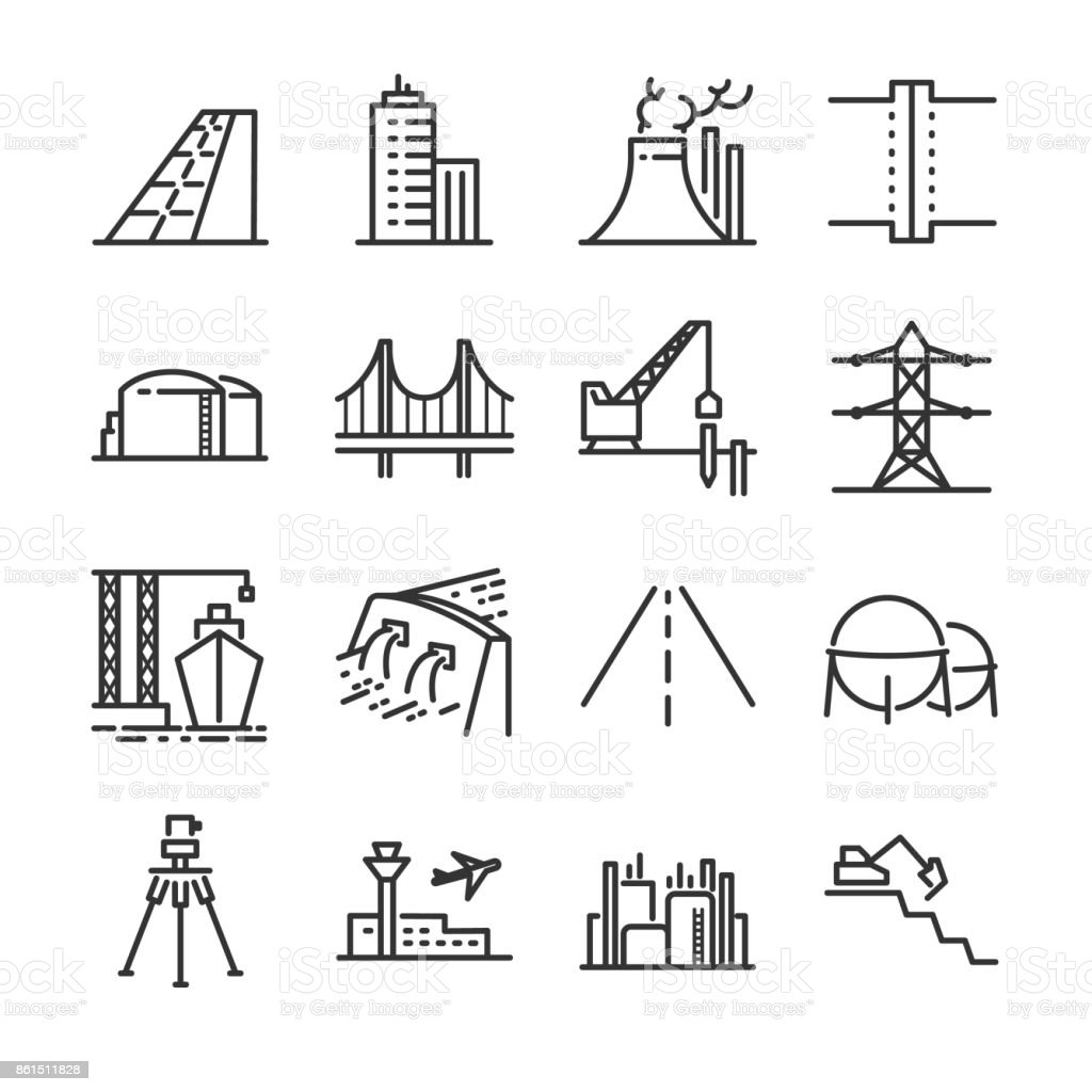 Engineering line icon set. Included the icons as building, dam, industrial, silo, power plant, estate and more. vector art illustration