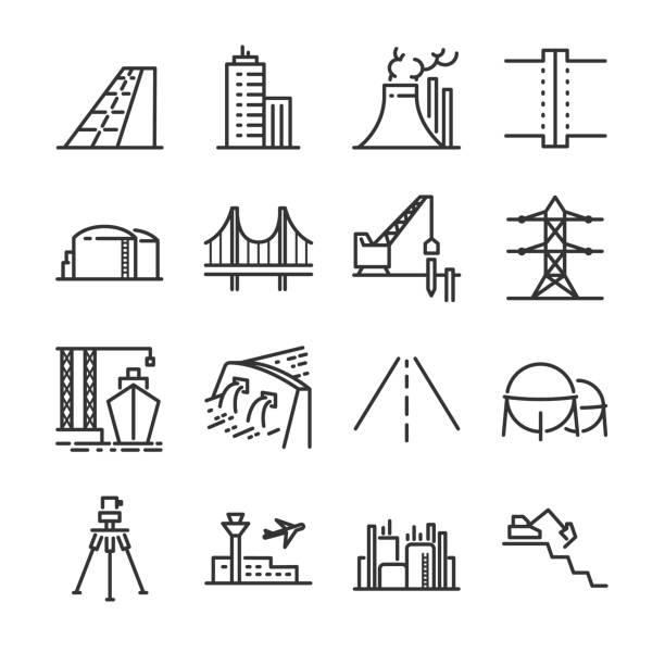 Engineering line icon set. Included the icons as building, dam, industrial, silo, power plant, estate and more. Engineering line icon set. Included the icons as building, dam, industrial, silo, power plant, estate and more. airport icons stock illustrations
