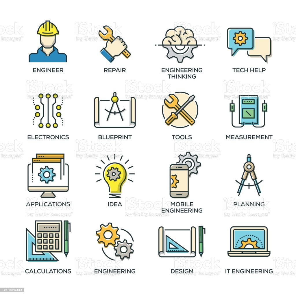 Engineering Line Icon Set vector art illustration