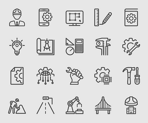 stockillustraties, clipart, cartoons en iconen met engineering line icon - robot engineer