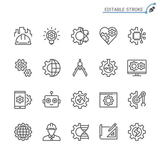 ilustraciones, imágenes clip art, dibujos animados e iconos de stock de iconos de la línea de ingeniería. movimiento editable. pixel perfecto. - ingeniero