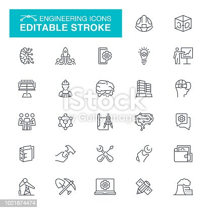 Manufacturing, Gear, Equipment, Factory, Working, Editable Stroke Icon Set