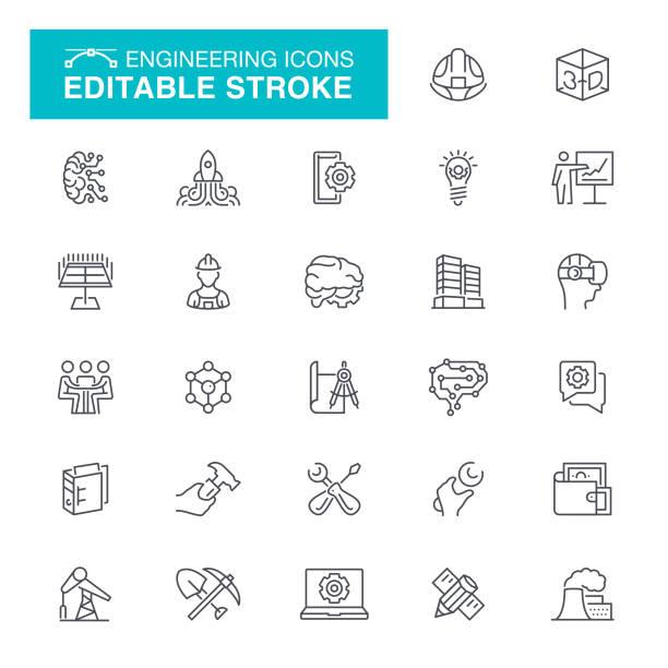 illustrations, cliparts, dessins animés et icônes de icônes de ligne de génie - infographie industrie manufacture production