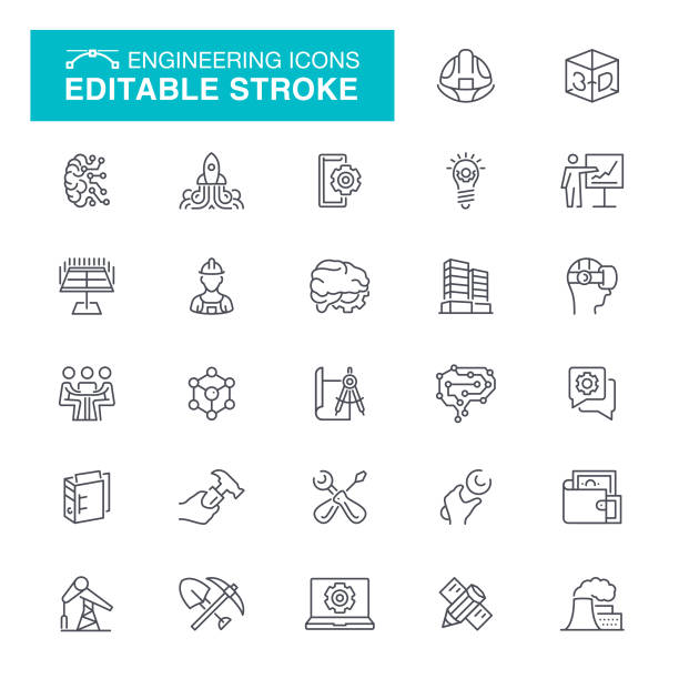 engineering-linie-icons - ingenieur stock-grafiken, -clipart, -cartoons und -symbole