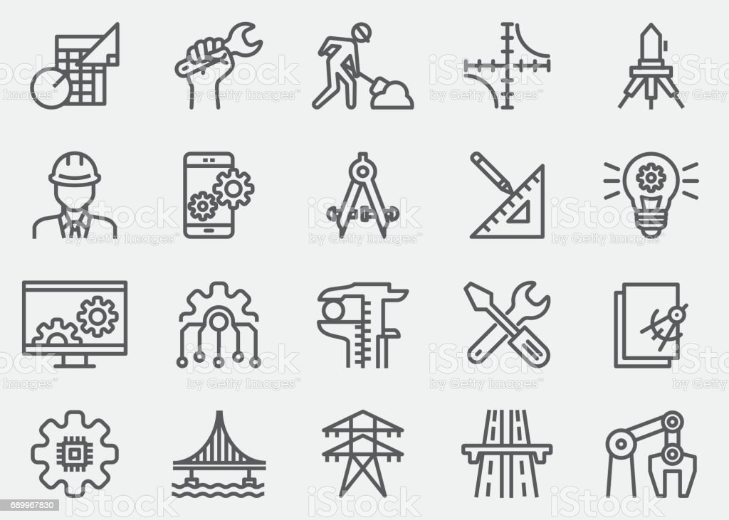 Engineering Line Icons vector art illustration