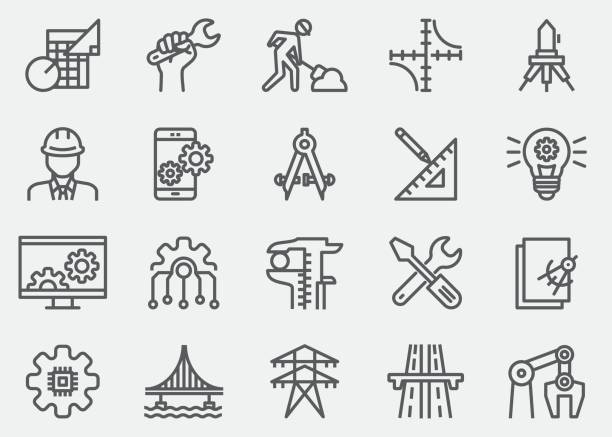 stockillustraties, clipart, cartoons en iconen met engineering lijn pictogrammen - robot engineer