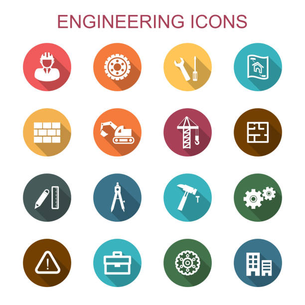 Engineering Long Shadow Icons Vector Art Illustration