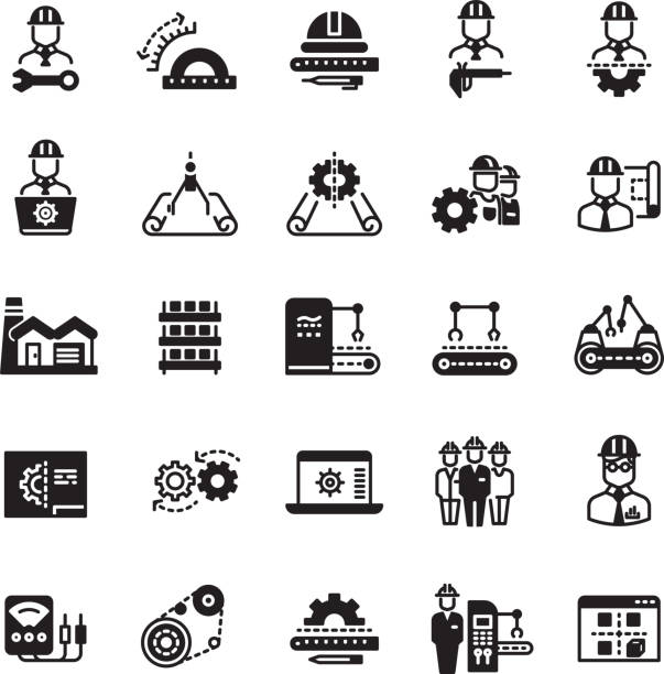Engineering manufacturing industrial vector icon set - Illustration vectorielle