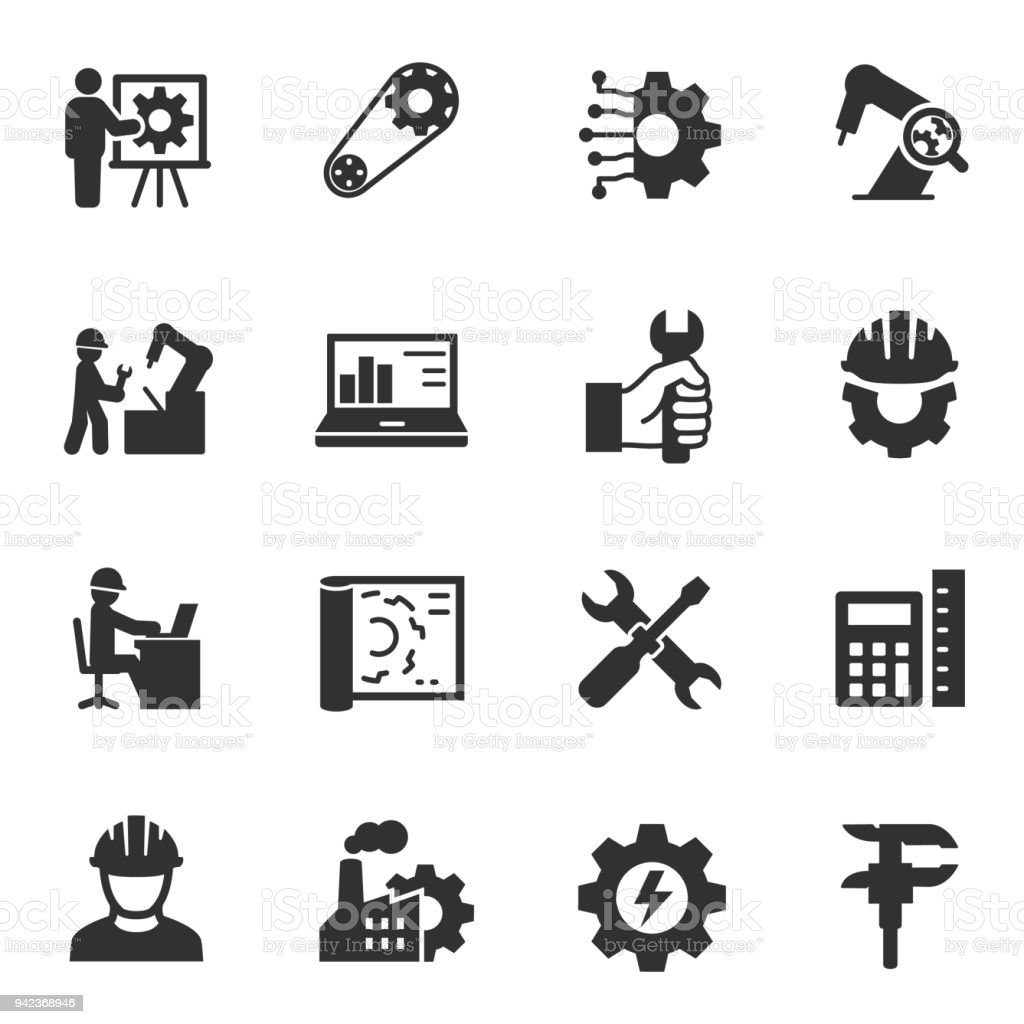 Engineering. Monochrome icons set. royalty-free engineering monochrome icons set stock illustration - download image now