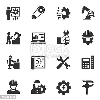 Engineering. Monochrome icons set. Engineer, simple symbols collection