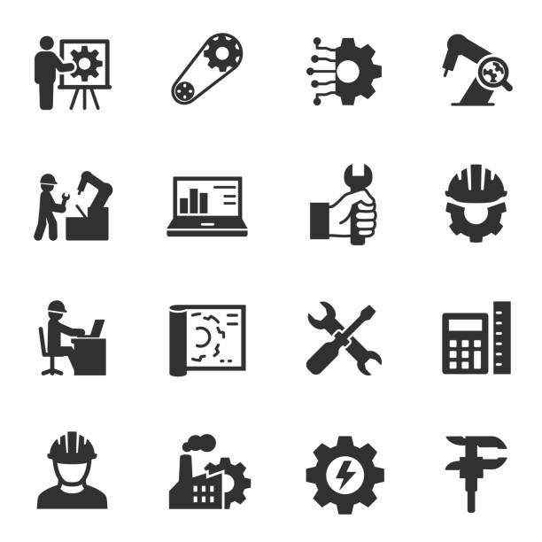 stockillustraties, clipart, cartoons en iconen met engineering. zwart-wit pictogrammen instellen. - robot engineer