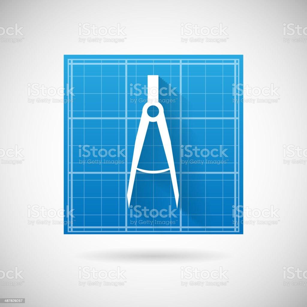 Technische Planung Symbol Blueprint Und Kompass Stechzirkel Icon ...