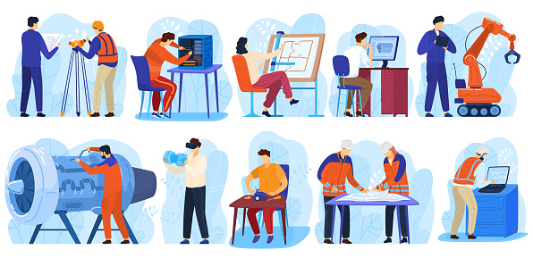 Engineering project construction, engineers workers, architect and surveyor in industrial building people at work isolated collection vector illustrations. Technology engineering projects.