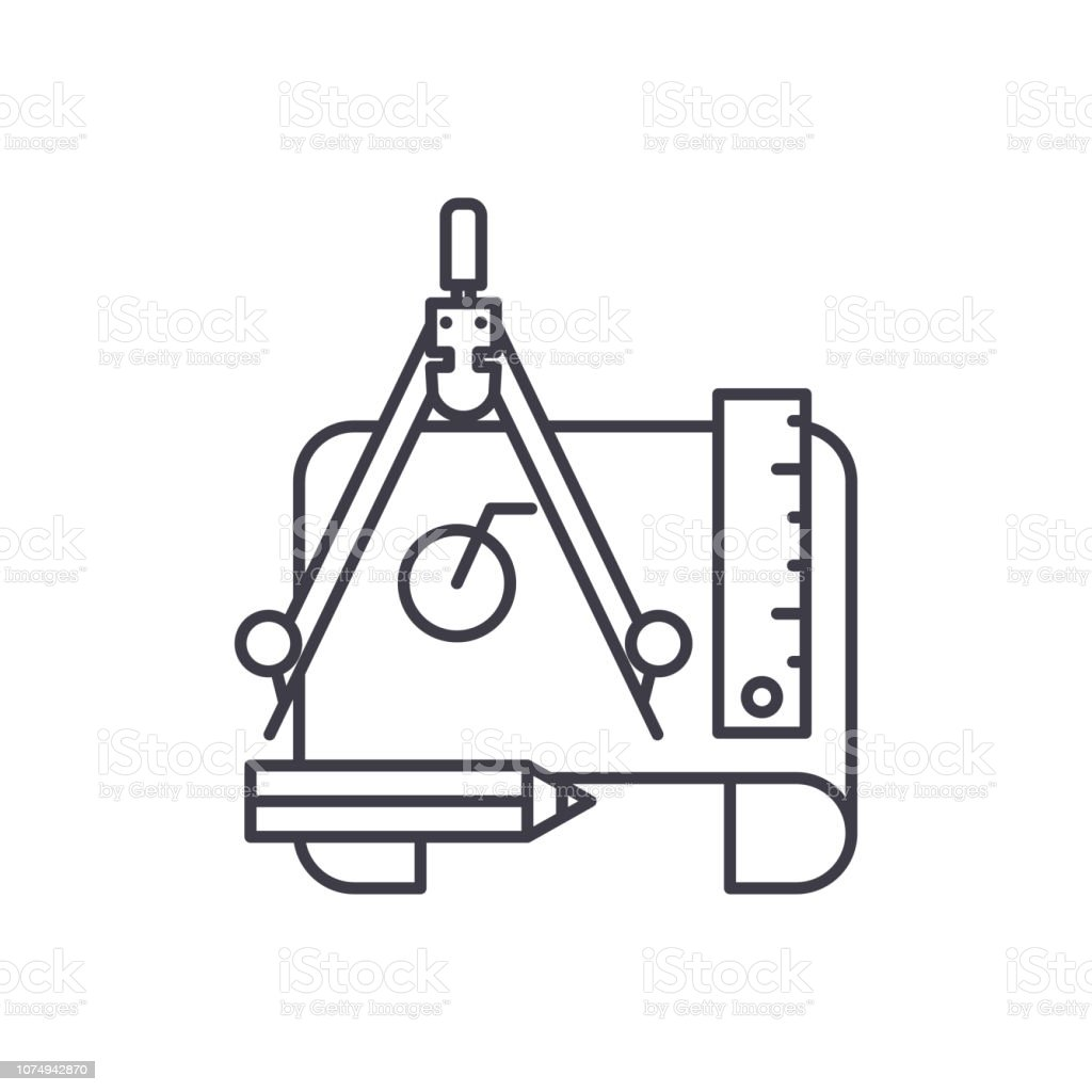 Engineering Project Line Icon Concept Engineering Project Vector