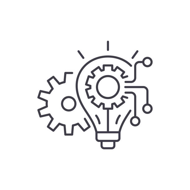 engineering-system-symbol anlagenkonzept. engineering-system linear vektorgrafik, symbol, zeichen - innovation stock-grafiken, -clipart, -cartoons und -symbole