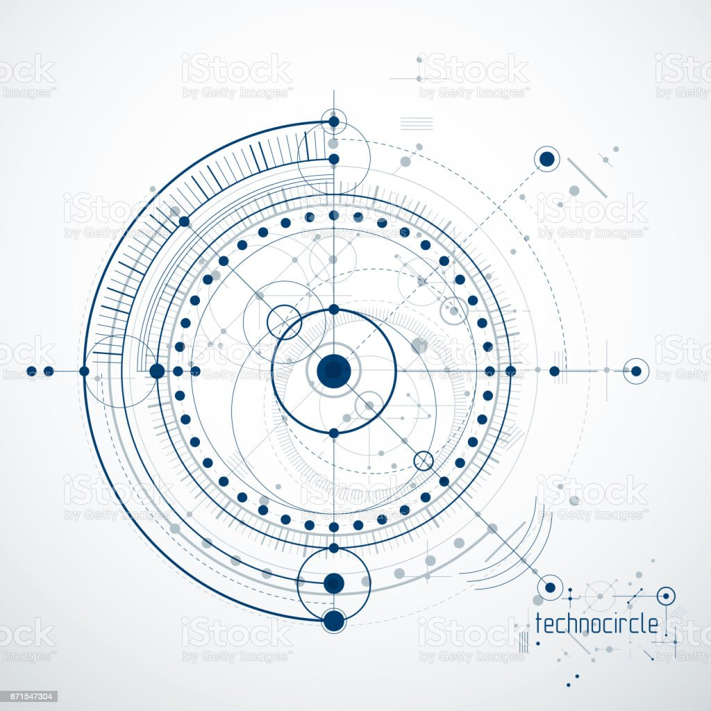 Engineering technological vector wallpaper made with circles and lines. vector art illustration