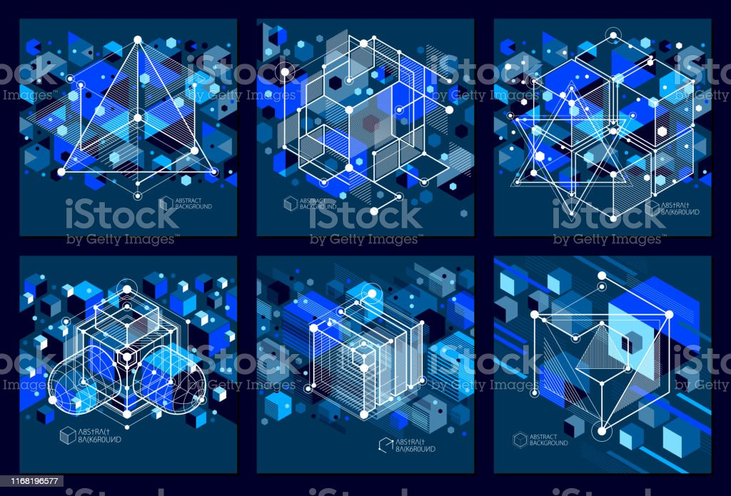 Engineering Technology Vector Dark Blue Wallpapers Set Made With 3d Cubes And Lines Engineering Technological Wallpaper Made With Honeycombs Abstract Technical Background Stock Illustration Download Image Now Istock