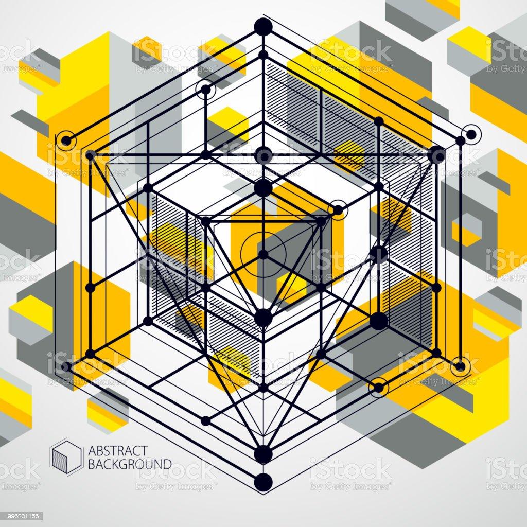 Engineeringtechnologie Vektor Gelbe Tapete Mit 3d Wurfel Und