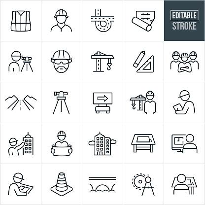Engineering Thin Line Icons - Editable Stroke