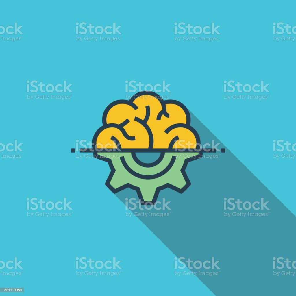 Engineering Thinking Flat Icon vector art illustration
