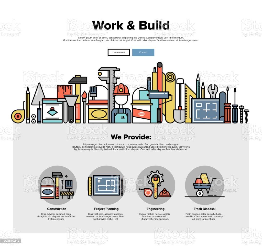 Engineering tools flat line web graphics vector art illustration