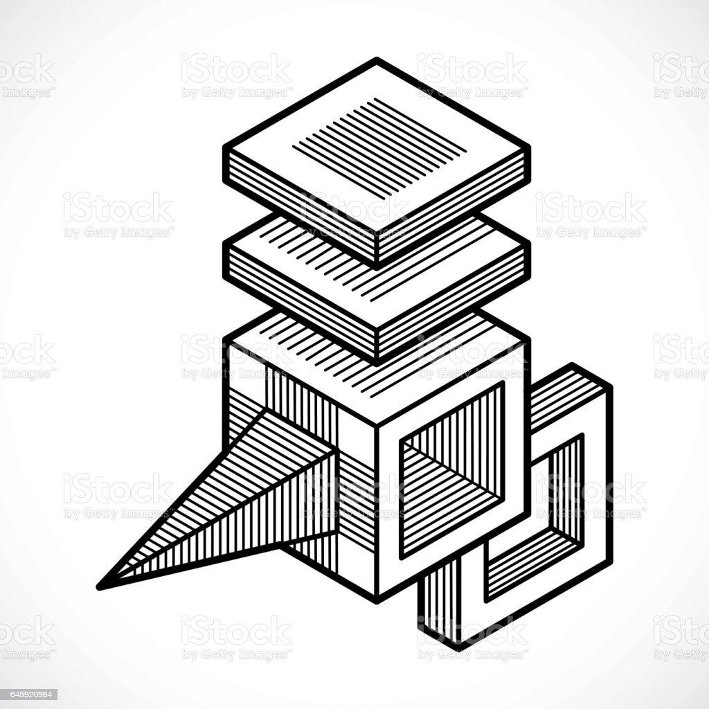 3d Muhendislik Vektor Soyut Sekli Kupler Ve Geometrik Formlar
