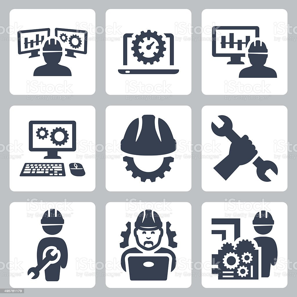Engineering vector icons set vector art illustration