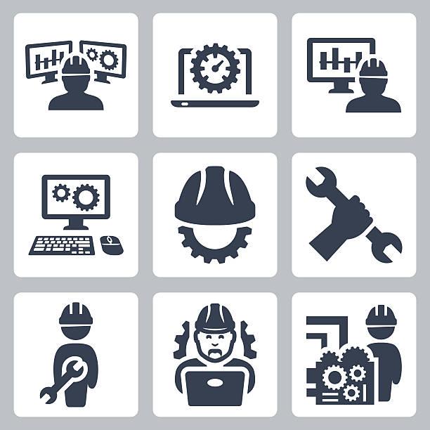 engineering vector icons set - machine stock illustrations, clip art, cartoons, & icons
