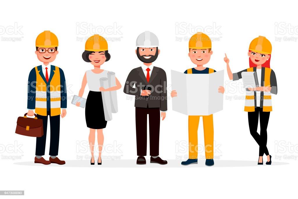 Ingénieurs en dessin animé personnages isolés sur fond blanc. Groupe de techniciens, constructeurs, mécanique et travail personnes plate illustration vectorielle. - Illustration vectorielle