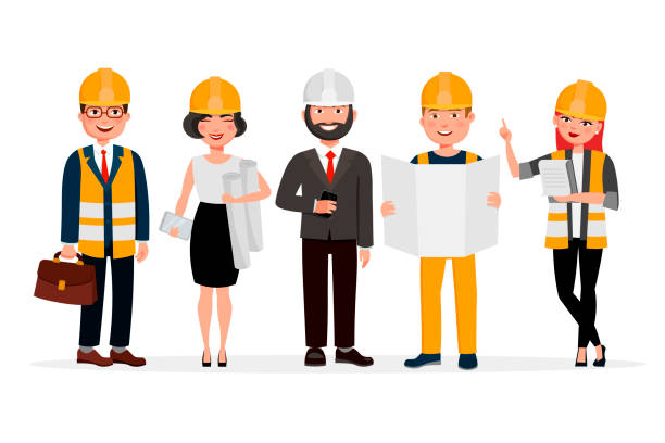 engineers cartoon characters isolated on white background. group of technicians, builders, mechanics and work people vector flat illustration. - architecture clipart stock illustrations