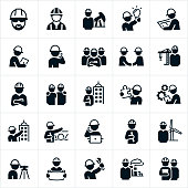 An icon set consisting of all engineers. The engineers represented include common engineers, civil engineer, petroleum engineer, construction engineer, mechanical engineer, architectural engineer, chemical engineer, industrial engineer among others. Each of the engineers represented have hard hats on. Some of the engineers are shown looking a blue prints, standing in front of an oil well, writing notes, on their phone, shaking hands, standing in front of a construction crane, standing in front of a constructed building, standing in front of a bridge, standing in front of a windmill and standing in front of a chemical plant.