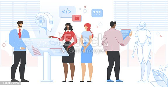 istock Engineers Scientists Making and Programming Robot 1168338266