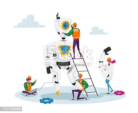 istock Engineers Scientists Tiny Characters Making Programming Huge Robot in Science Laboratory. Robotics Hardware and Software 1271230330