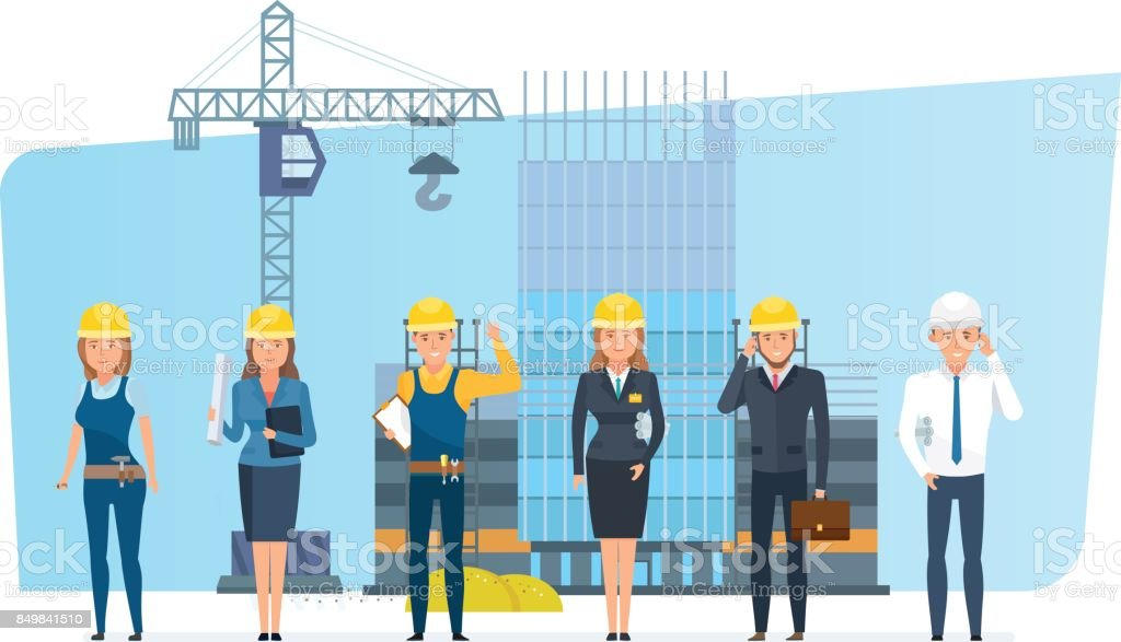 Engineers set with construction workers team, on background building house vector art illustration