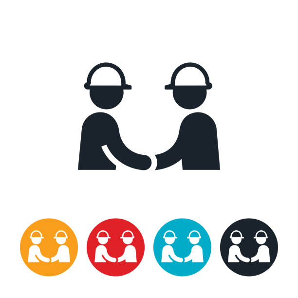 Engineers Shaking Hands Icon vector art illustration