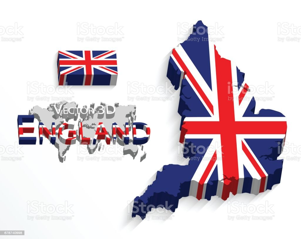 England 3D ( flag and map ) ( United Kingdom of Great Britain ) ( combine flag and map ) vector art illustration