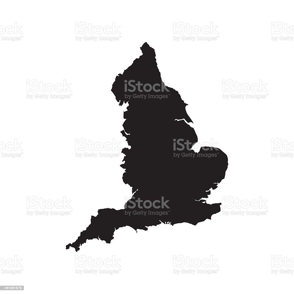 Angleterre noir carte vectorielle design plat - Illustration vectorielle